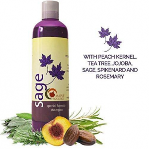 Maple Holistics Sage shampoo next to sage and rosemary leaves.