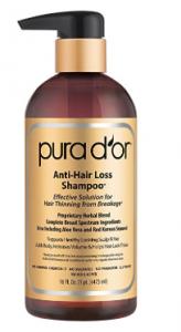 Natural Pura d'or Anti-Hair Loss Shampoo product bottle.