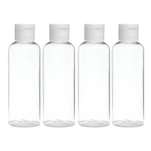 Four empty plastic bottles.
