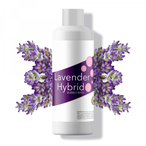 Bottle of lavender hybrid bubble bath.