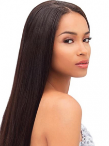 Woman looking back with sleek black hair.