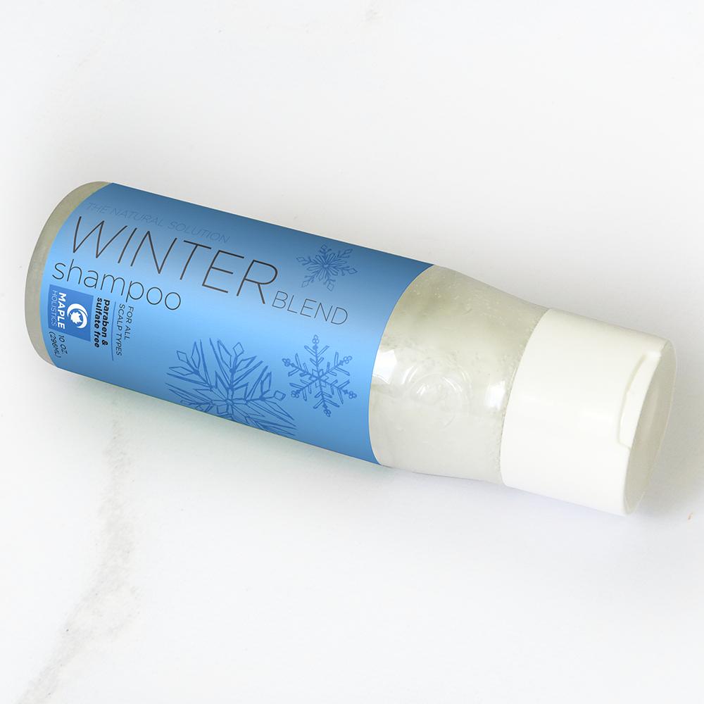 Winter Blend shampoo 10 oz bottle on its side.