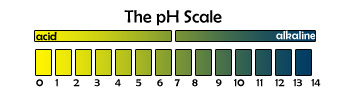 The pH scale.