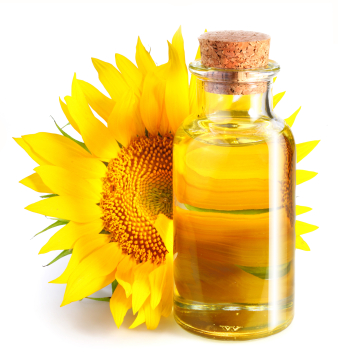 Bottle of oil with sunflower.
