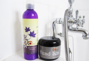 Maple Holistics Sage shampoo in shower.
