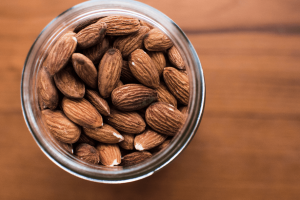 Jar of almonds.