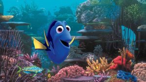 Dory cartoon under water.