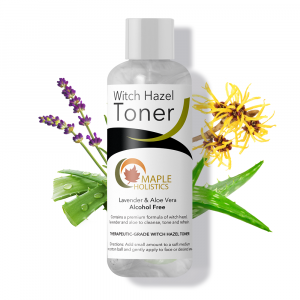 Bottle of witch hazel toner with witch hazel in background.
