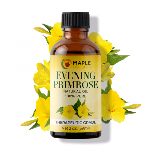 Bottle of evening primrose essential oil.