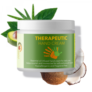Container of shea butter therapeutic hand cream with some ingredients in the background.