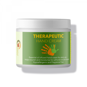 Container of shea butter therapeutic hand cream.
