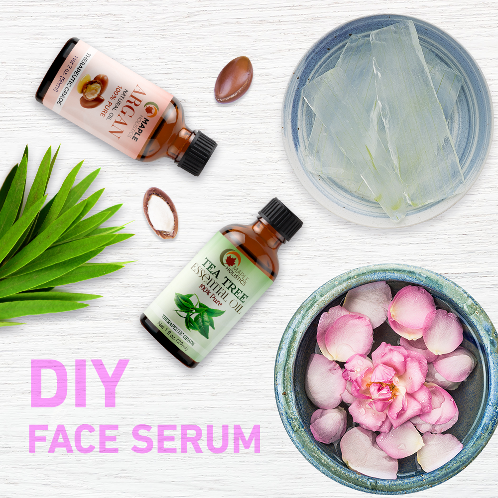 Ingredients for DIY face serum with argan oil.