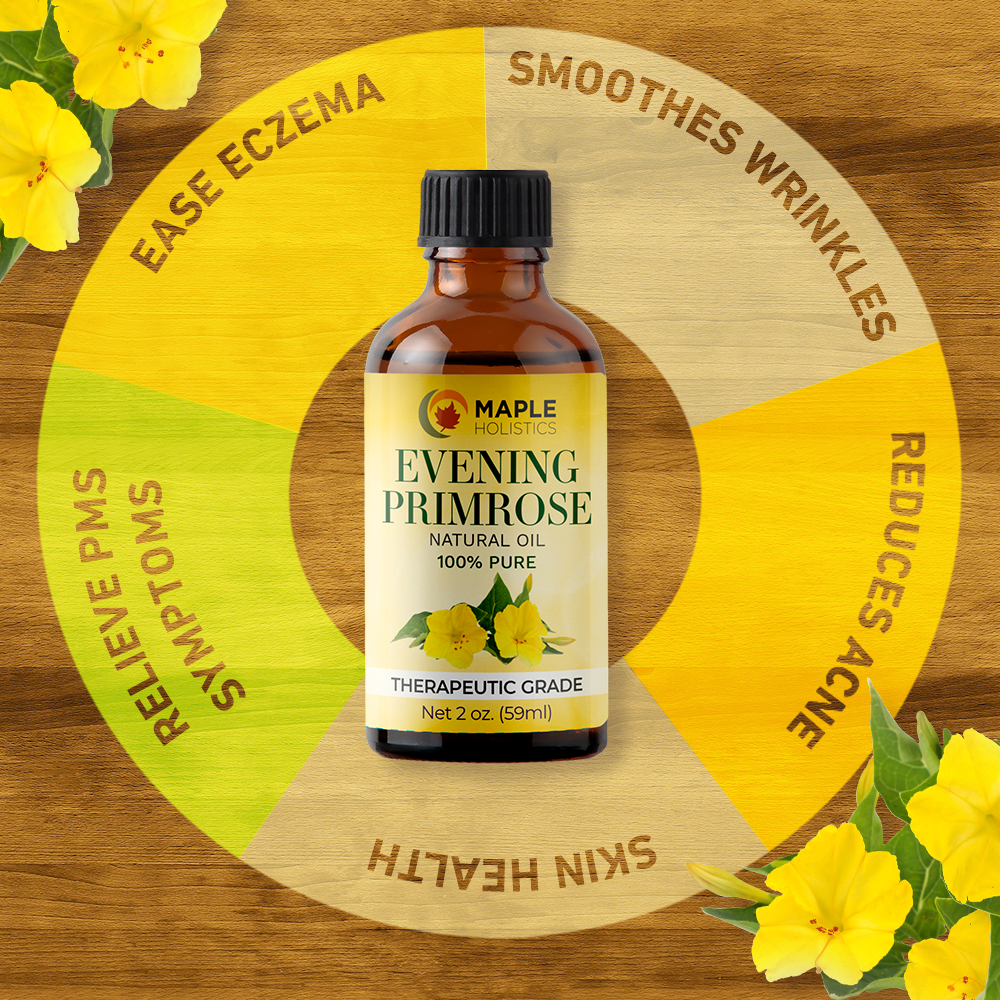 Evening primrose oil infographic on wood next to yellow flowers.