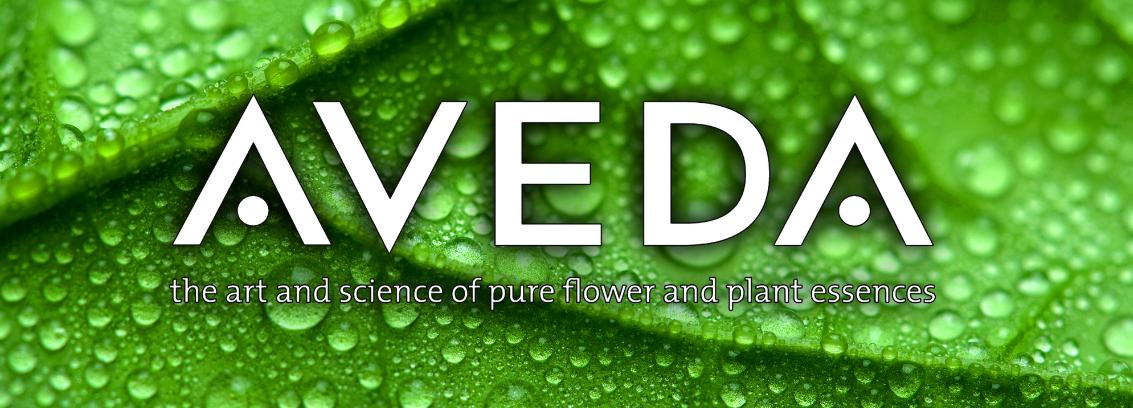 Aveda logo with leaf background.