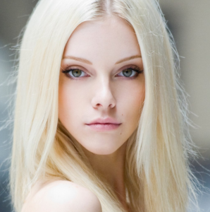Woman with platinum blonde hair.