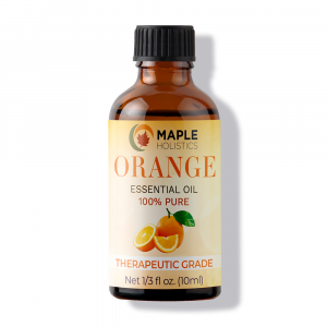 Bottle of orange essential oil.