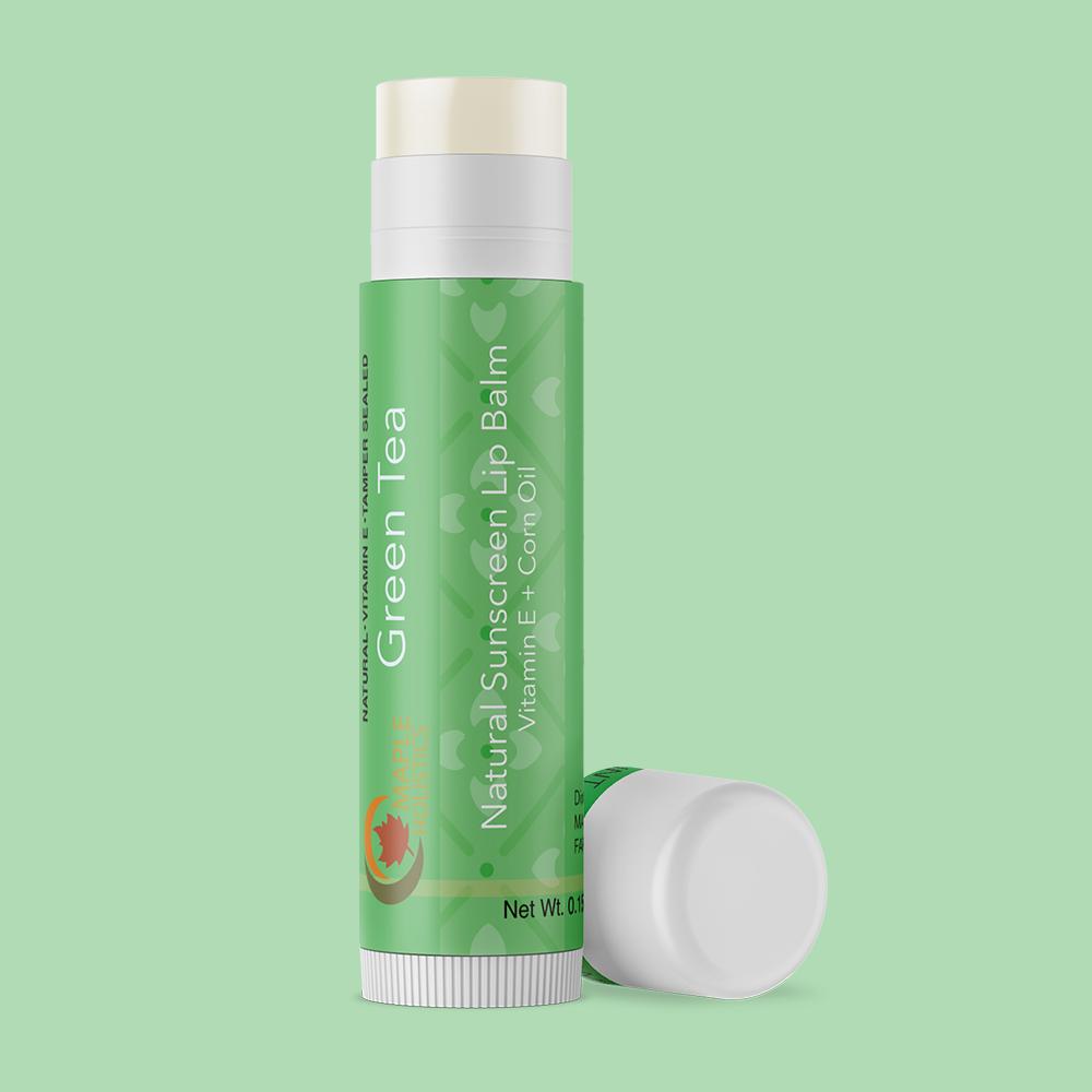 Tube of green tea lip balm with SPF 15.