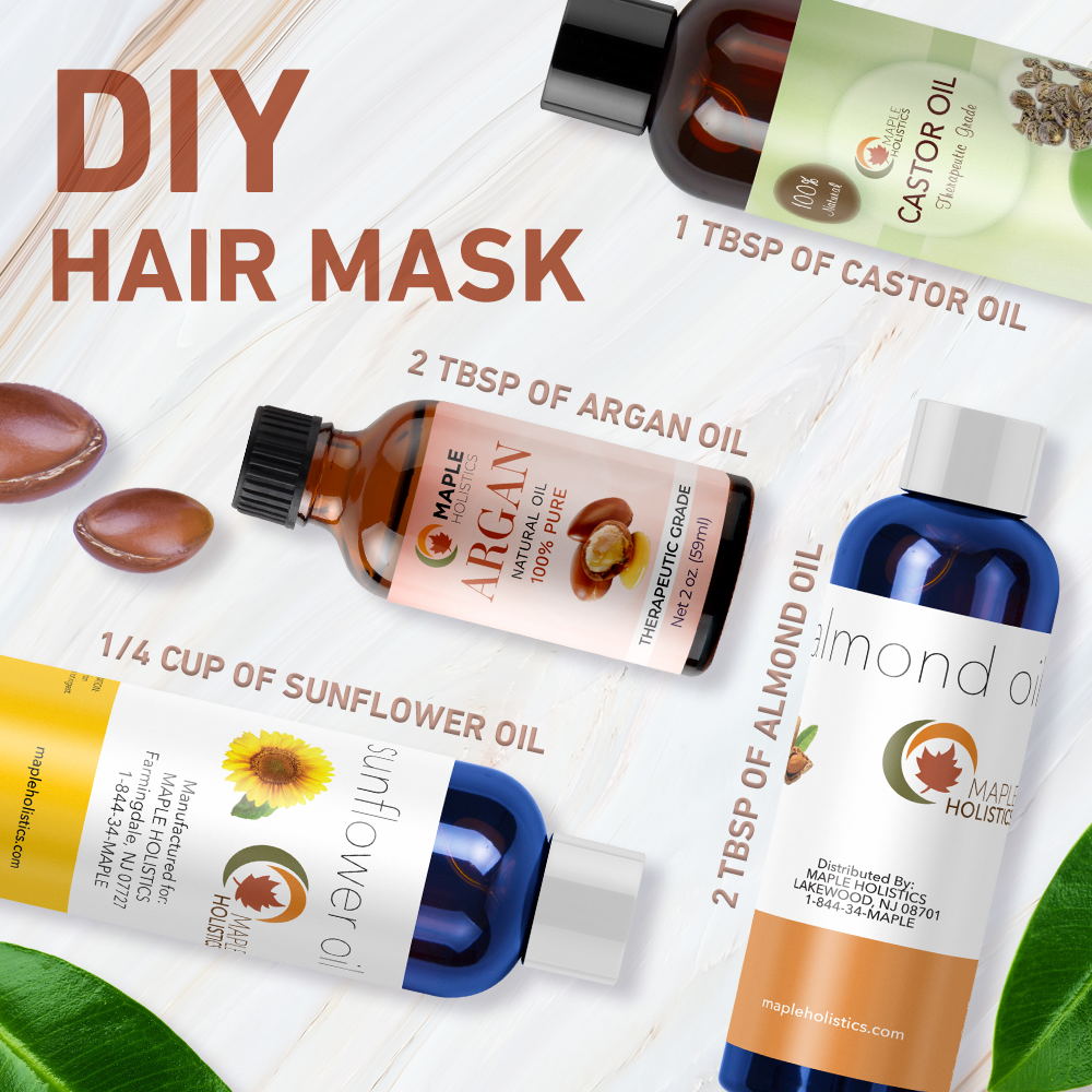 DIY hair mask ingredients, including sunflower oil.