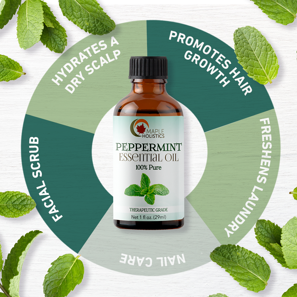Peppermint essential oil infographic.