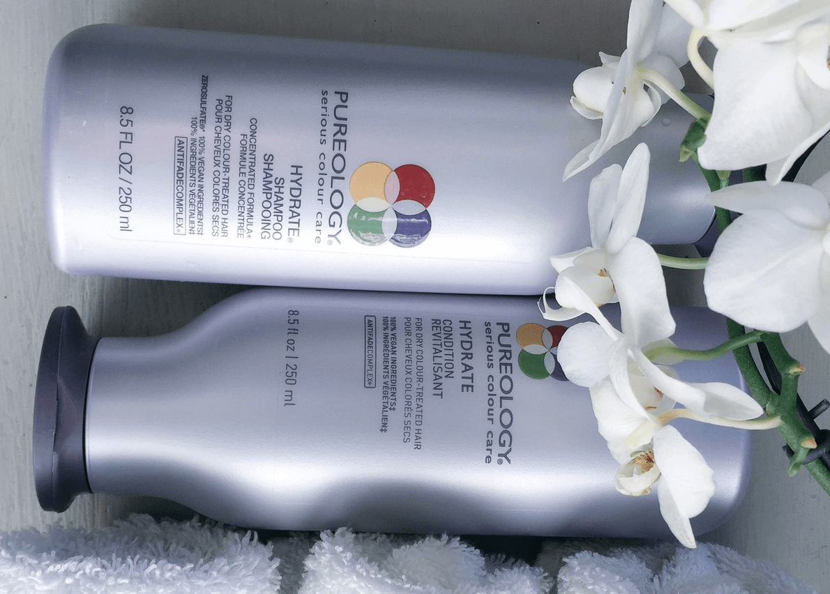 Pureology silver bottles.