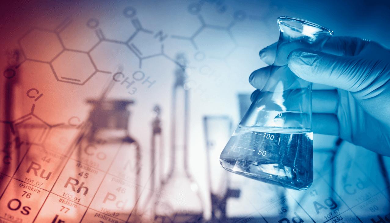 Chemicals in beakers.