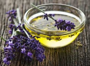 Bowl of oil with lavender.