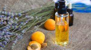 Apricots, oil, and lavender.