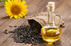 Bag of sunflower seeds with oil and sunflower.