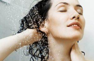 Woman showering.