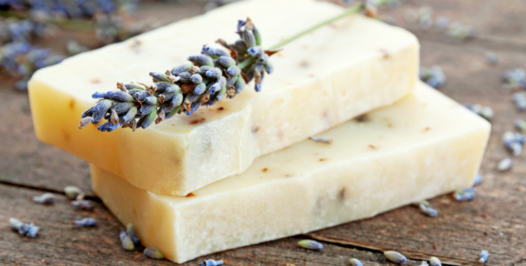 Bars of soap with lavender.