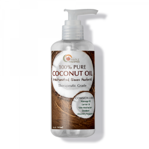 Bottle of coconut oil with pump.