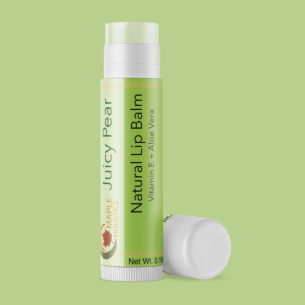 Tube of juicy pear therapeutic lip balm.