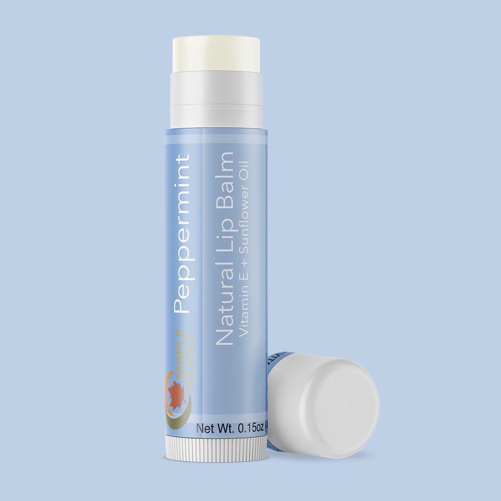 Tube of peppermint therapeutic lip balm.