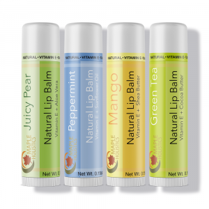 Tropical therapeutic lip balm in juicy pear, peppermint, mango, and green tea.