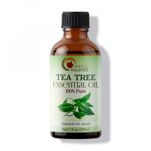 Bottle of tea tree essential oil.