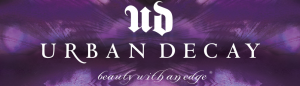 Urban Decay purple banner.