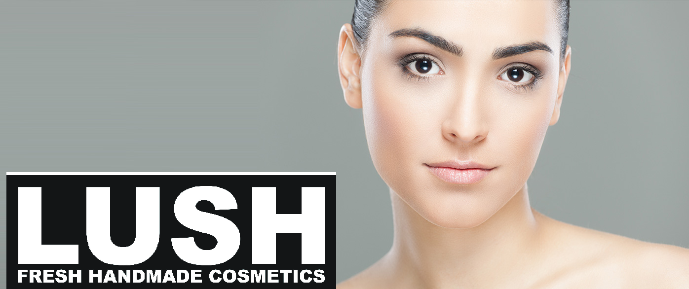 Lush banner with woman.