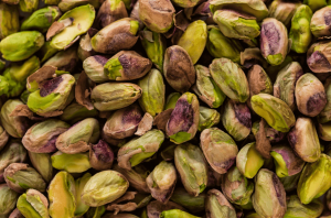 Pistachio nuts without the shell.