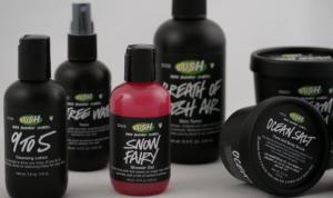 Bottles of Lush cosmetics.
