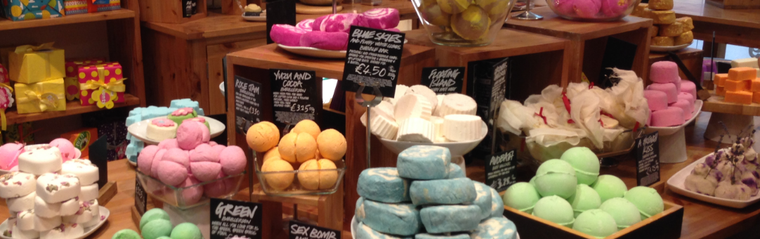 An assortment of Lush products.