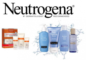 Neutrogena banner with a selection of products.