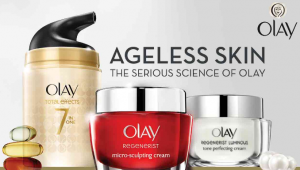 Olay banner featuring three skincare products.