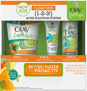 Olay's fresh effects 1-2-3 acne solution system.