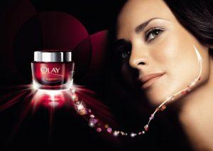 Olay campaign with woman and Olay jar.