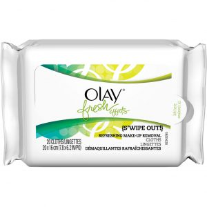 Olay's fresh effects s'wipe out makeup remover.