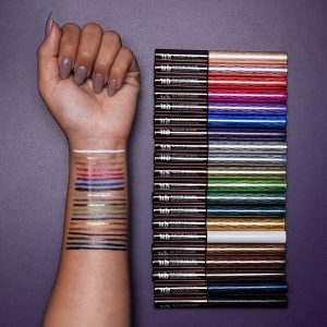 Urban Decay's razor sharp eyeliners with colors showing on woman's arm.
