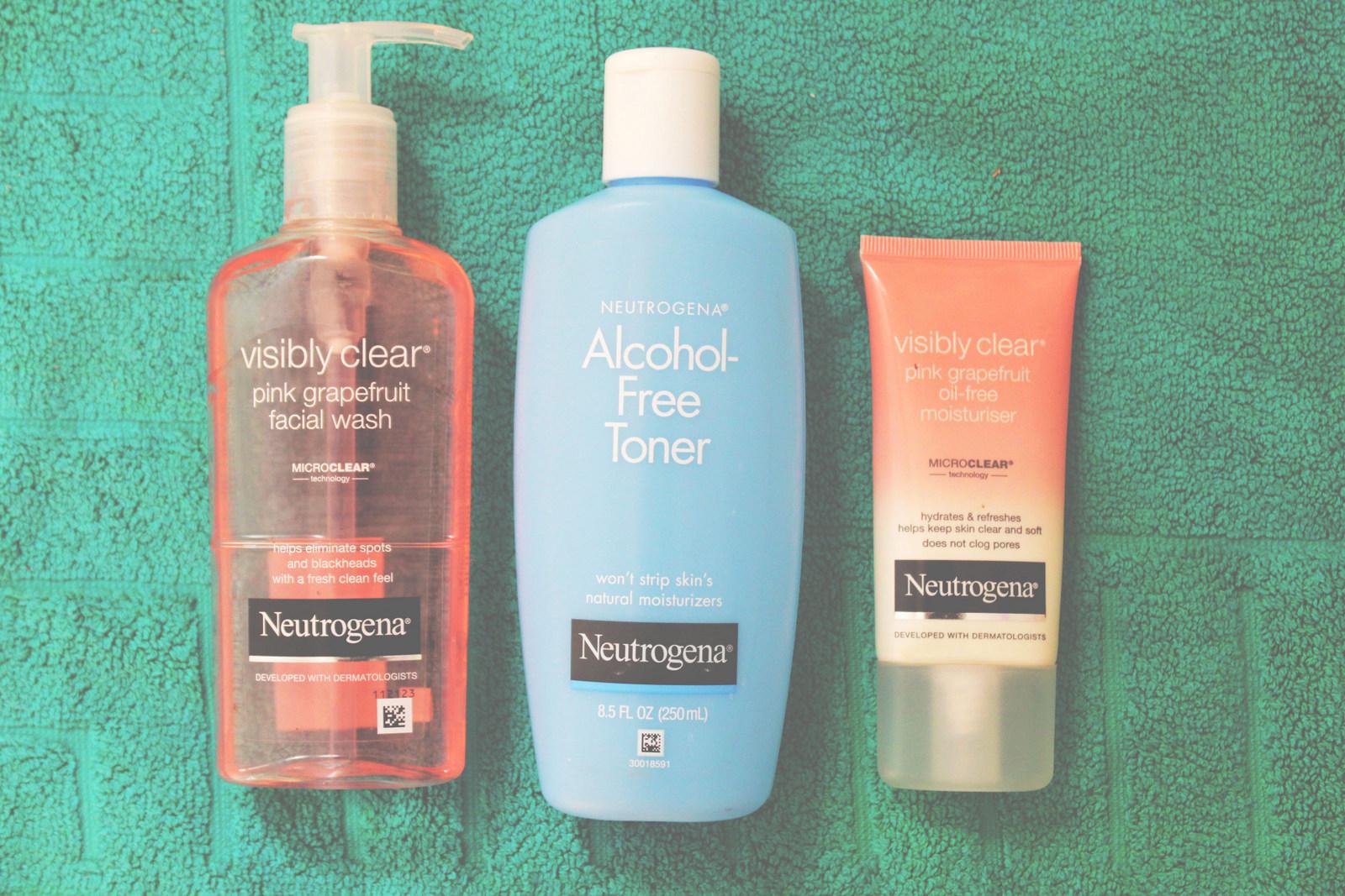 Neutrogena facial wash, toner and moisturizer.
