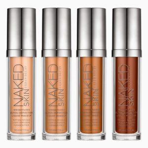 Urban Decay's naked skin liquid makeup in four shades.