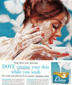 Dove advertisement with woman cleansing her body.