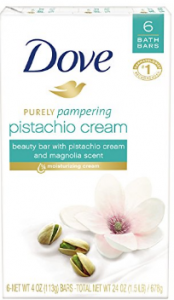 Dove's purely pampering bar soap.